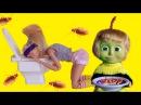 Барби и Маша едят ТАРАКАНОВ Мама Барби Маша и Медведь