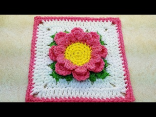 Learn How To #Crochet Perfectly Pink Flower 6 Granny Square TUTORIAL #377 supersaver DYI