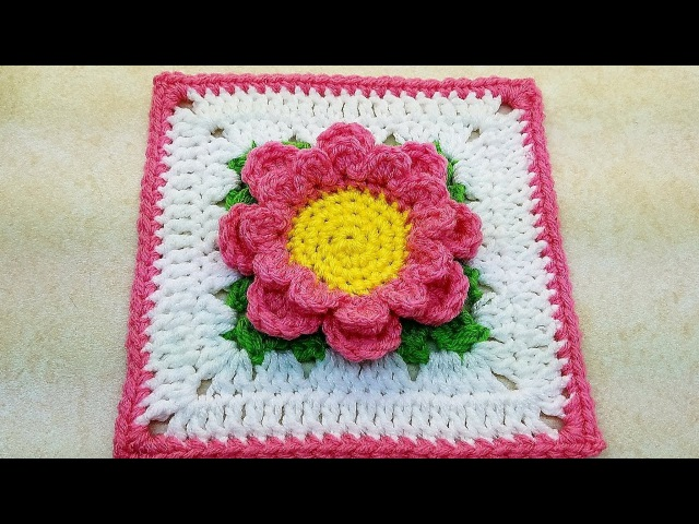 Learn How To Crochet Perfectly Pink Flower 6 Granny Square TUTORIAL 377 supersaver DYI