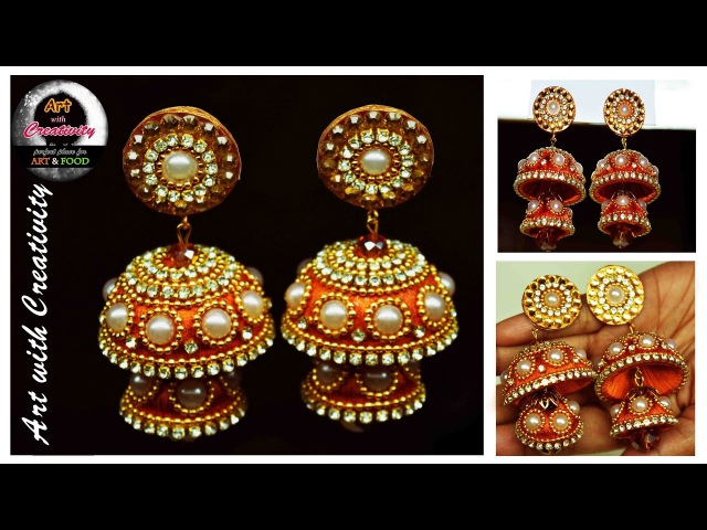 Silk thread Earring Bridal Jhumka Art with Creativity 128