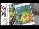 Как нарисовать пейзаж с оленем гуашью! Dari_Art