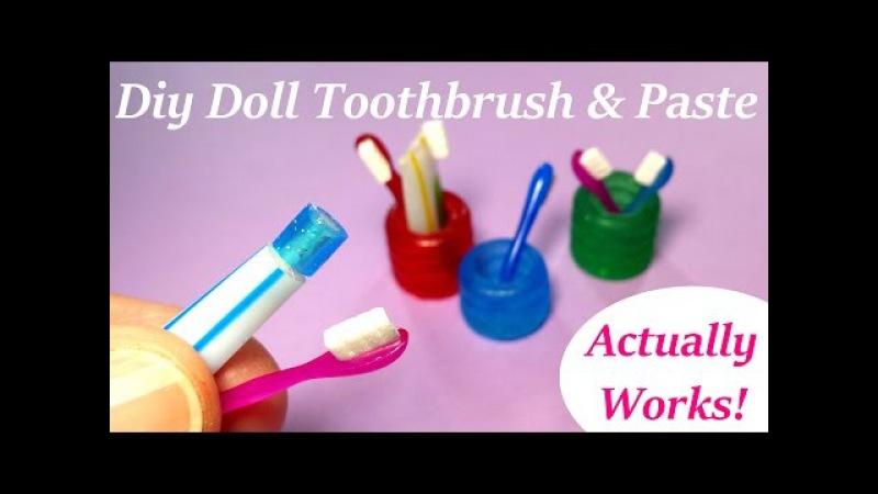 DIY Miniature Doll Toothbrush, Holder, Working Toothpaste - Bathroom Accessories » Freewka.com - Смотреть онлайн в хорощем качестве