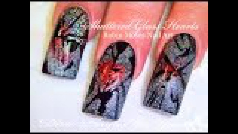 Anti Valentine's day Shattered Glass Nails | Broken Heart Nail Design