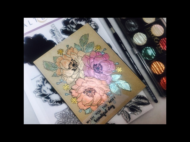 Altenew Beautiful Day Card Tutorial | Easy Watercoloring with Finetec Pearl Colors