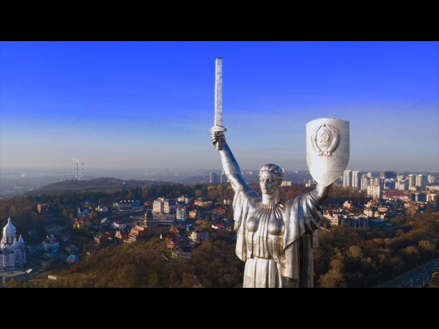 Ukraine Kyiv from a drone 2017 BB project - Vesnyanka Ukrainian folk music Bandura Accordion