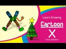 Draw Cartoon with Alphabet X for kids Draw Christmas tree by Enjoy Art