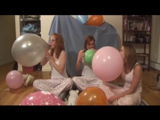 3 Girls Sexy Happy in Blow to Pop Balloons