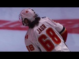 Jaromir Jagr takes the ice with the Calgary Flames