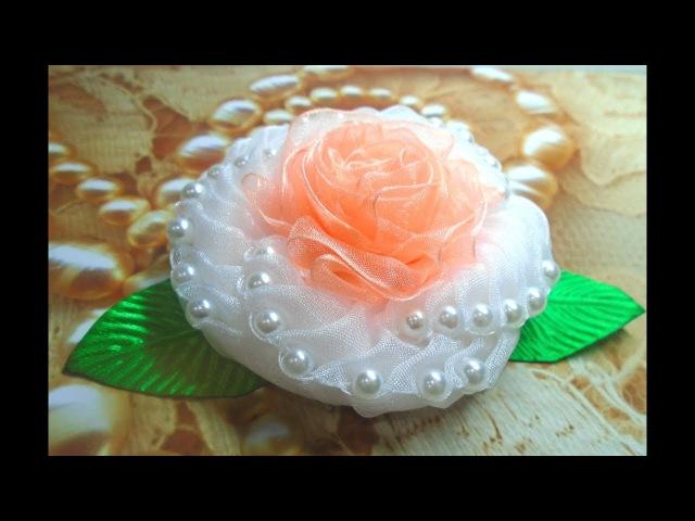 Цветок из органзы с бусинками, Часть 1, МК Канзаши/ Organza flower with beads, Part 1, MK Kanzashi
