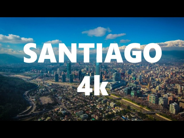 SANTIAGO - CHILE. DJI Phantom 4 - Epic Drone Aerial Footage. Drone Flight Over The City in 4k.