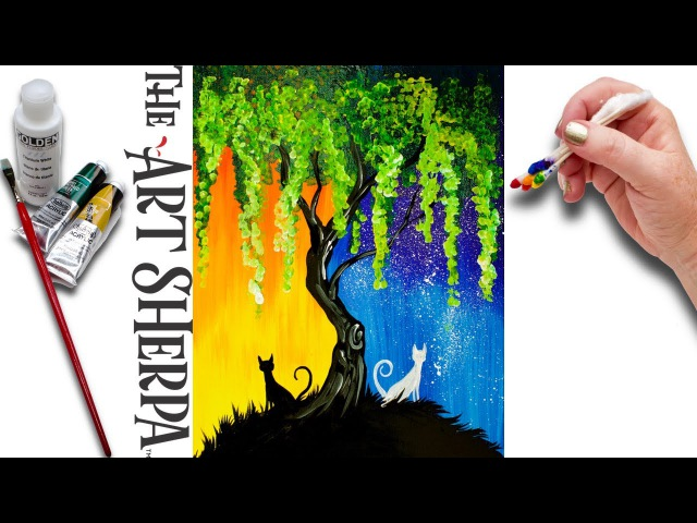 Day and Night Cats Willow Tree Q Tip Acrylic Painting for Beginners tutorial 🌈🎨💜