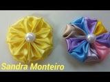 DIY: Como fazer flor de fita de cetim, super facil, Sandra Monteiro