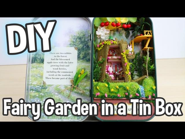 DIY Fairy Garden in a Tin Can Miniature Dollhouse Kit Box Theatre Forest Rhapsody