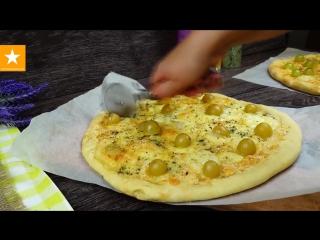 Пицца четыре сыра а быстром тесте без дрожжей.