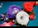 Ribbon flowers:opened satin ribbons rose/Цветы из лент: открытая роза из атласных лент