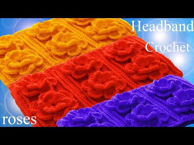 Como tejer fácil a Crochet rosas en alto relieve 3D para vestidos blusas almohadones cojines