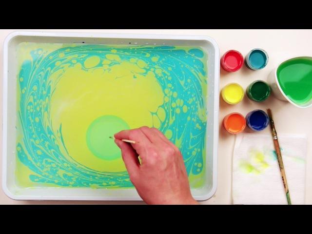 Как нарисовать маргаритку в технике эбру