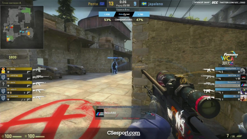 Spiidi разыгрывает 1v3 от бомбы @ CS:GO WCA