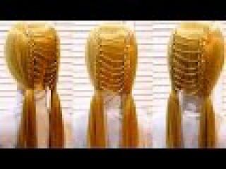 Легкая прическа в школу с плетением на длинные и средние волосы. Easy school hairstyle
