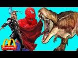Frozen Elsa McDONALDS w Spiderman Dinosaur Vs Giant Dinosaur w Captain Thor vs T-rex