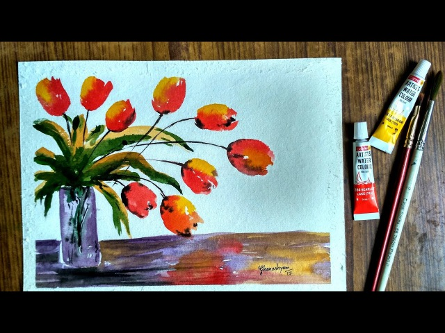 How to Paint Tulip Flowers in Watercolor | Paint with david