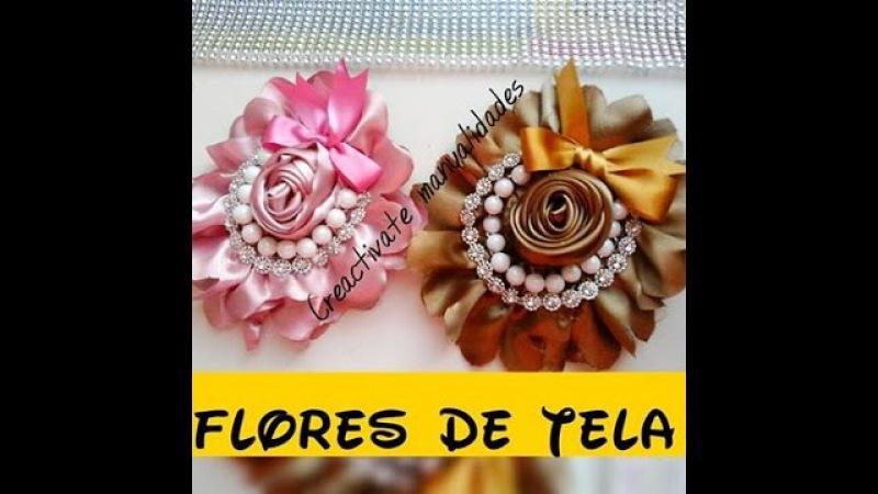 FLORES DE TELA SATIN O RAZO FACIL/Tiara/Diadema/Vincha/Balaca/rosas de tela/creactivate manualidades