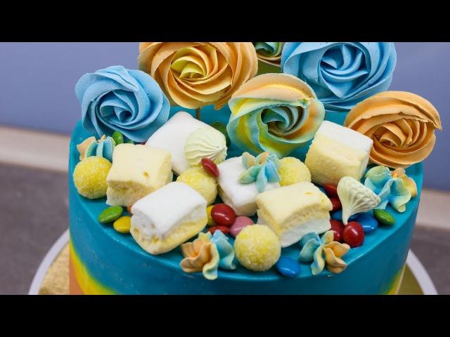 Оригинальный бисквитный торт Простой рецепт выпечки Собираем и украшаем торт Печем меренги