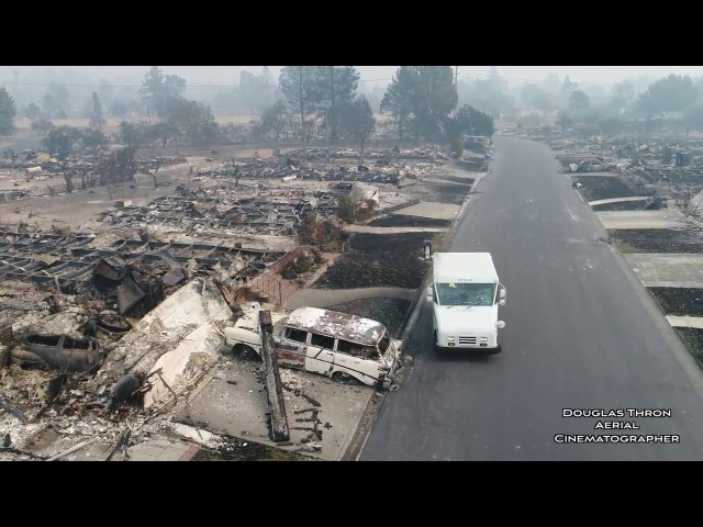 U.S.P.S Postman Delivers Mail Santa Rosa Fires Drone Video Douglas Thron October 10, 2017 California