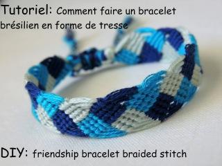 Comment faire un bracelet brésilien en forme de tresse (DIY Friendship bracelet braided stitch)