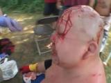 Экстремальный борец Абдулла Кобаяши получает шипы вырвали у него из головы