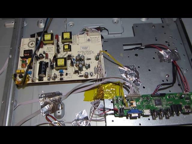 Ремонт телевизора DEX 32 ставим универсальный скалер v56