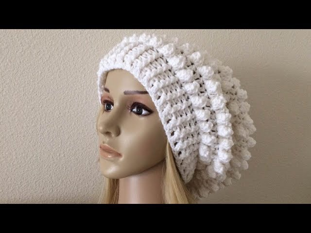 How To Crochet A Popcorn Stitch Slouchy Hat, Lilu's Handmade Corner Video 177