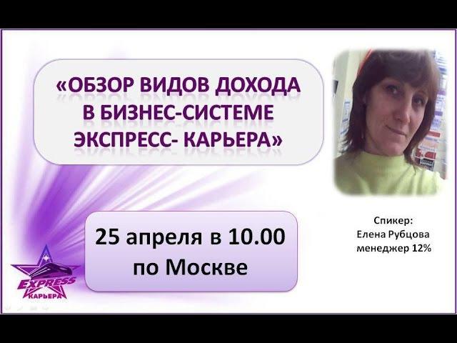 Виды доходов в бизнес системе Экспресс Карьера 25 апреля Рубцова Елена