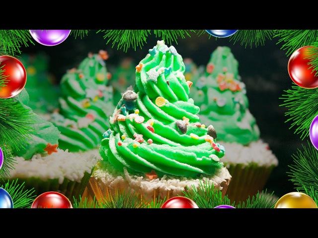 Кексы творожно кокосовые с масляным кремом Новогодняя Елочка 🎄Праздничный рецепт на Новый Год
