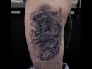 Зажившая чёрно-белая татуировка Стимпанк кот healed black and white tattoo steampunk cat Дом Элит Тату Tattoo Studio Mosco