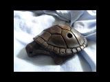 Handbuild clay Turtle 5-hole ocarina, double milk firing, unique shamanic totem musical instrument