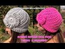 Gorro Espiral con Flor tejido a crochet con indicaciones para cualquier edad