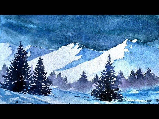 Snowy Blue Mountains with Watercolor   paint with david