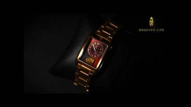 Статусные часы-браслет от GL с золотым инвестиционным слитком на циферблате