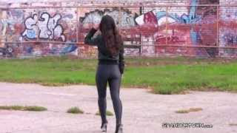 Girl in tight spandex leggings ass russian pantyhose