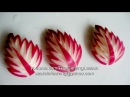 Red Radish Leaves Carving Design 1 Lessons 33 for Beginners แกะสลัก ใบไม้จาก เรดิช
