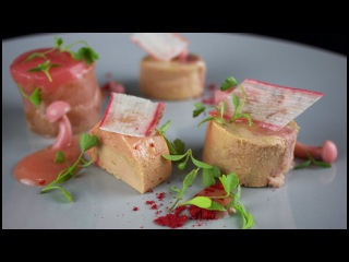 Food plate presentation. Duck and Foiegras terrine, pickled  mushroom, rhubarb