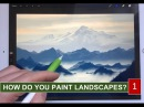 HOW TO PAINT REALISTIC LANDSCAPE 1: Mountains in the mist painting tutorial iPad Pro Apple Pencil