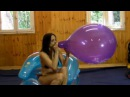 "Girl blow to pop big Unique 16"" balloon"