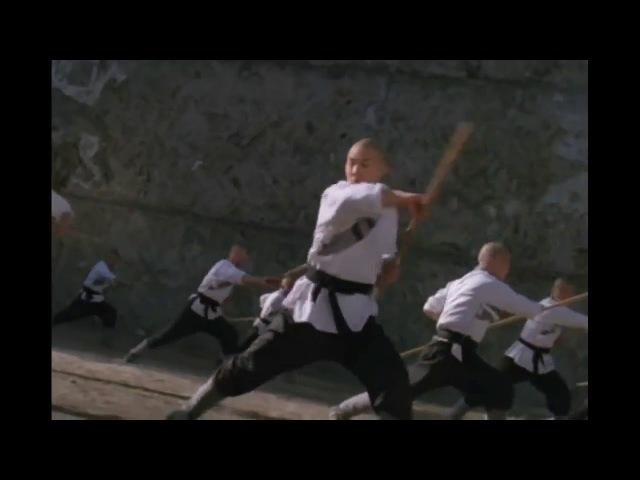 Монах Шаолинь Джет Ли на тренировке с посохом Jet Li as monk Shaolin training with staff