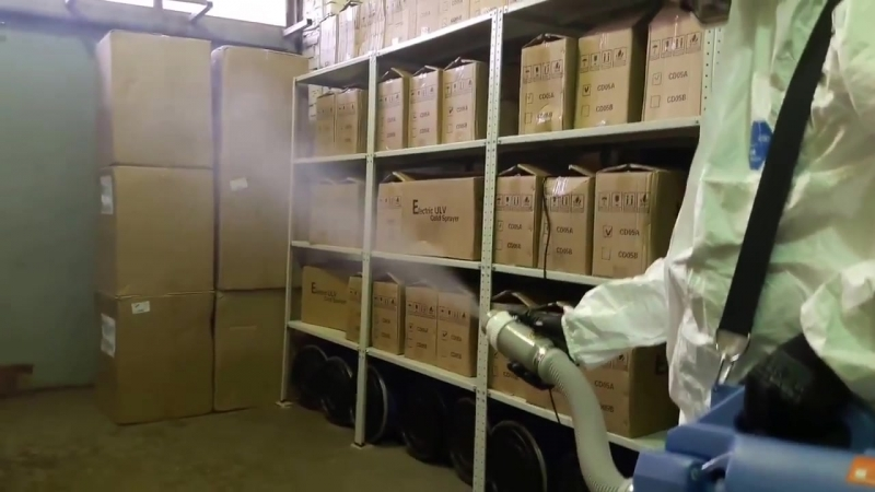 Обработка складских помещений от вредителей насекомых генератором холодного тумана