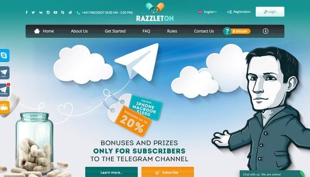 Razzleton — высокодоходная площадка для инвестиций с шикарным дизайном