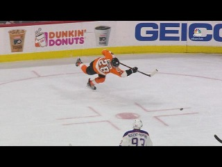 Claude Giroux Leaves HIS FEET and buries a laser one-timer goal vs Edmonton. NHL Highlights. (HD)