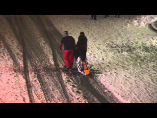 Drunken Russian taking their buddy home after Apres Ski