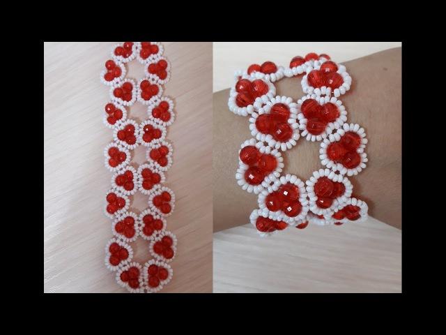 Браслет из бисера. Сердечко-Цветочек/Bead Bracelet. Heart-Flower